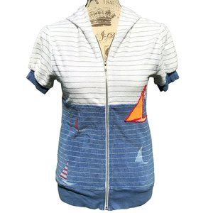 A Fine Mess Short Sleeve Hooded Jacket Boats Blue